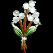 Flower Bouquet Brooch Enamel Moonstones Unsigned Vintage Pin