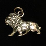 Lion Charm Sterling Silver 3-D Details