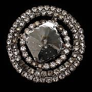 Foil Back Large Stone Brooch Pin Vintage Rhinestones
