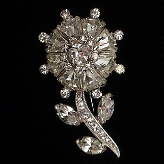 Weiss Flower Pin Vintage Rhinestones