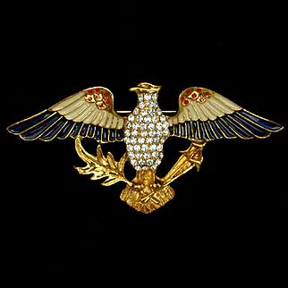 Eagle Brooch Pin USA Patriotic Eisenberg Ice