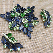 D&E Juliana Set Blue and Green Stones Pin and Earrings