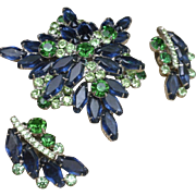 D&E Juliana Set Blue and Green Stones Pin and Earrings