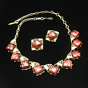 Coro Necklace Earrings Set Vintage with Red Confetti Stones
