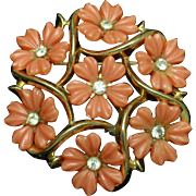 Trifari Flower Pin with Coral Tone Petals and Clear Rhinestones Vintage
