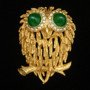 Owl Pin Vintage KJL Kenneth Jay Lane Bird Brooch
