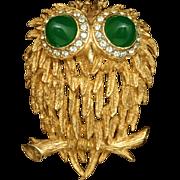 Owl Pin Vintage KJL Kenneth Jay Lane Bird Brooch