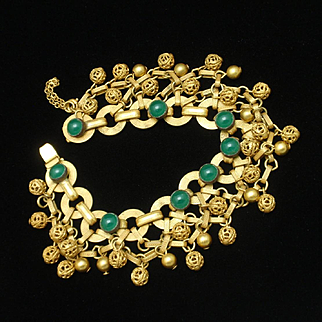 Ball Fringe Bracelet Green Stones Vintage Hobe