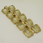 KJL Vintage Bracelet with Pale Yellow Lucite and Rhinestones Kenneth Jay Lane