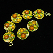 Ruth Buol Enamel Bracelet Earrings Set American Vintage