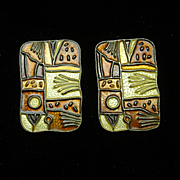 David Andersen Fall Four Seasons Earrings Vintage Silver Enamel Norway