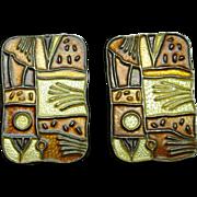 David Andersen Fall Four Seasons Earrings Vintage Silver Enamel Norway