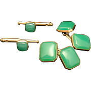 Men's Green Cuff Links and Collar Stud Buttons Set Vintage Gold Filled