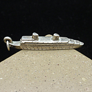 MS Gripsholm Cruise Ship Ocean Liner Charm Vintage Sterling Silver