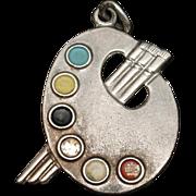 Artist Palette Charm Sterling Silver Enamel Vintage