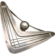 Boomerang Pin Atomic Mid-Century Sterling Silver Sweden