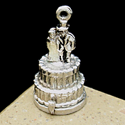 Wedding Cake Charm Opens to Baby Stroller Mechanical Sterling Silver Enamel Vintage