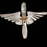 Military Pilot Wings Vintage Abalone Pin circa WW II