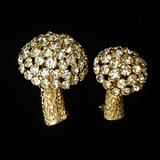 Pair of Rhinestone Mushroom Scatter Pins Vintage Castlecliff