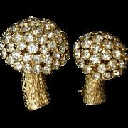 Pair of Rhinestone Mushroom Scatter Pins Vintage Castlecliff