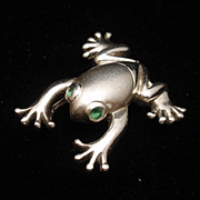 Frog Charm Pendant Sterling Silver Green Eyes