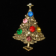 Hollycraft Christmas Tree Pin Vintage Xmas Brooch