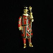 Beefeater Pin Vintage Figural Enamel Brooch