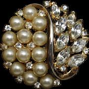 Trifari pat. pend. Brooch Pin Rhinestones and Imitation Pearls