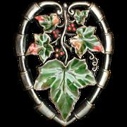 Unsigned Beauty Brooch Pin Vintage Enamel