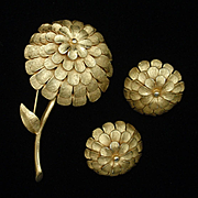 Corocraft Gold Tone Metal Flower Pin and Earrings Set Vintage