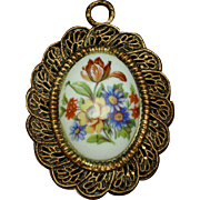 Oval Hand-Painted Flowers Pendant Limoges France Vintage