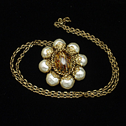 Pendant Necklace Vintage West Germany Imitation Pearls