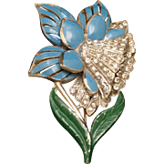 1940s Pot Metal Flower Pin Vintage Brooch