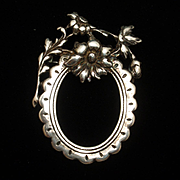 Sterling Silver Photo Frame Brooch Pin Pendant Vintage