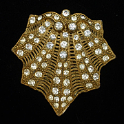 Shell Shaped Dress Clip Vintage with Rhinestones