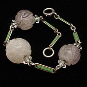 Art Deco Bracelet Carved Amethyst Enamel Sterling Silver