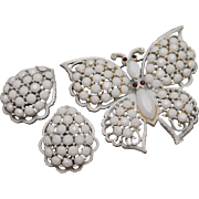 White Butterfly Pin and Earrings Set by Weiss Vintage