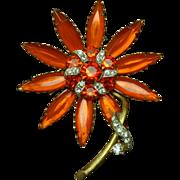 Orange Flower Pin Vintage