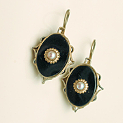 Antique Black Jet Drop Earrings