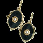 Antique Black Jet Drop Earrings