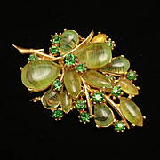 Art Flower Leaf Pin with Subtle Striped Green Stones Vintage