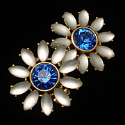 2-Color Blue Stones Flower Earrings by Craft Vintage