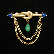 Eternal Knot Bar Pin with Swag and Stones Vintage