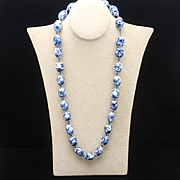 Blue and White Bead Necklace Vintage