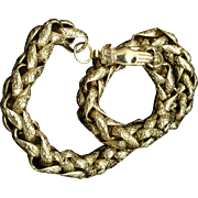 Heavy Textured Chain Necklace with Hand Clasp