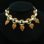 Glitter Lucite Necklace Vintage
