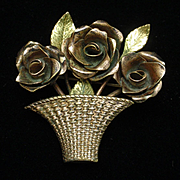 Coro Flower Basket Pin Two Colors of Metal