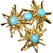 DeNicola Spiky Flower Brooch Pin Vintage