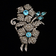 Unsigned Beauty Flower Brooch Pin Clear and Aquamarine Rhinestones Vintage