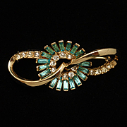 Corocraft Vintage Pin with Aquamarine Rhinestones